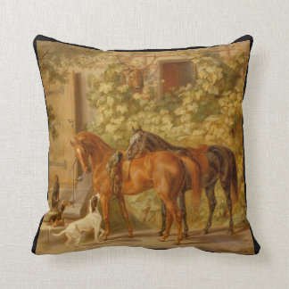 Horses and Dog in Courtyard Throw Pillow