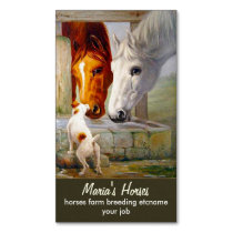 horses and dog - ranch magnetic business card