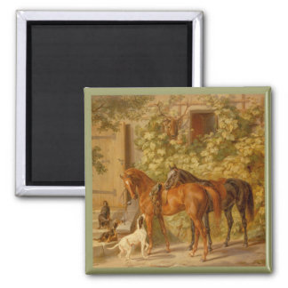 Horses and Dogs in Stable Yard Magnet