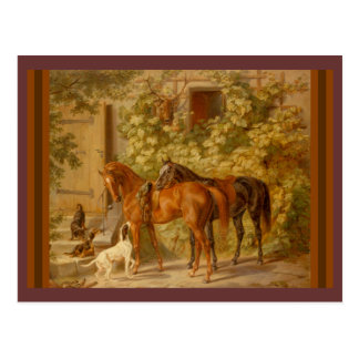 Horses and Dogs in Stable Yard Postcards