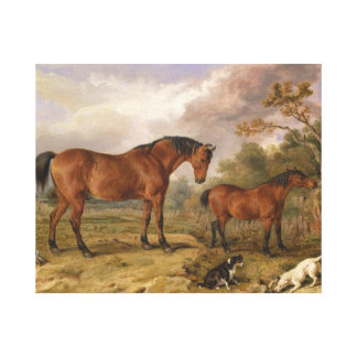 Horses and dogs painting on canvas for decoration