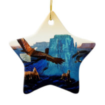 Horses and Eagles in the Grand Canyon Ceramic Ornament