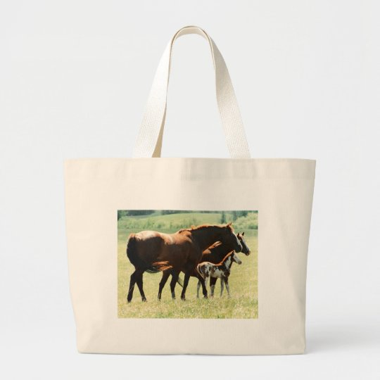 Horses and Foal Picture Large Tote Bag