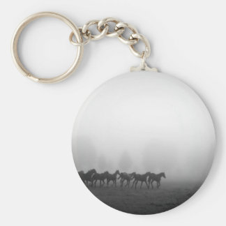 Horses and fog basic round button keychain