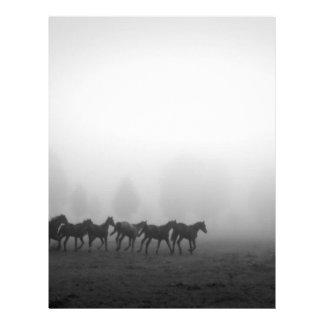 Horses and fog custom letterhead
