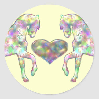 Horses And Heart Rainbow Colored Classic Round Sticker