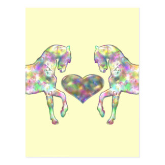 Horses And Heart Rainbow Colored Post Card