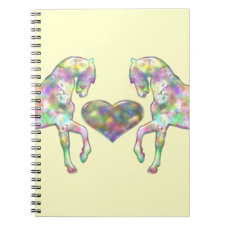 Horses And Heart Rainbow Colored Spiral Notebooks
