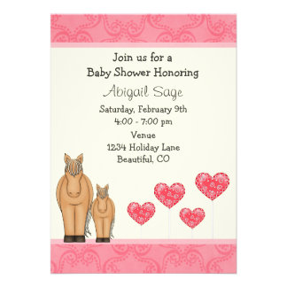 Horses and Hearts Baby Shower Invitation for Girls