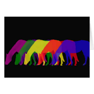 horses and horses in 6 bright colors - graphic card