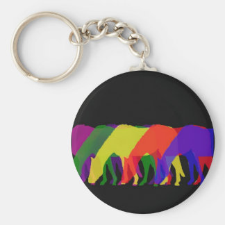 horses and horses in 6 bright colors - graphic keychain