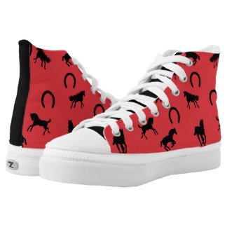 Horses and Horseshoes in Red and Black High-Top Sneakers