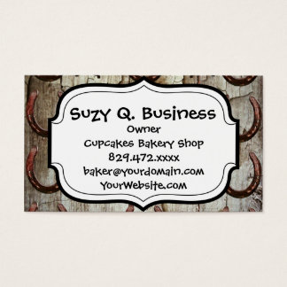 Horses and Horseshoes on Barn Wood Cowboy Gifts Business Card