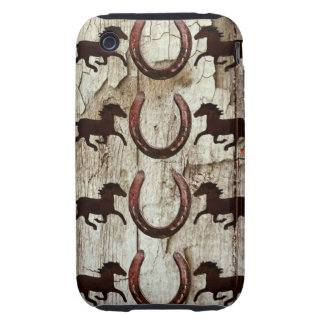 Horses and Horseshoes on Barn Wood Cowboy Gifts Tough iPhone 3 Covers