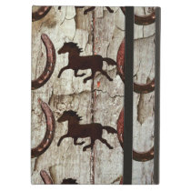 Horses and Horseshoes on Barn Wood Cowboy Gifts Cover For iPad Air