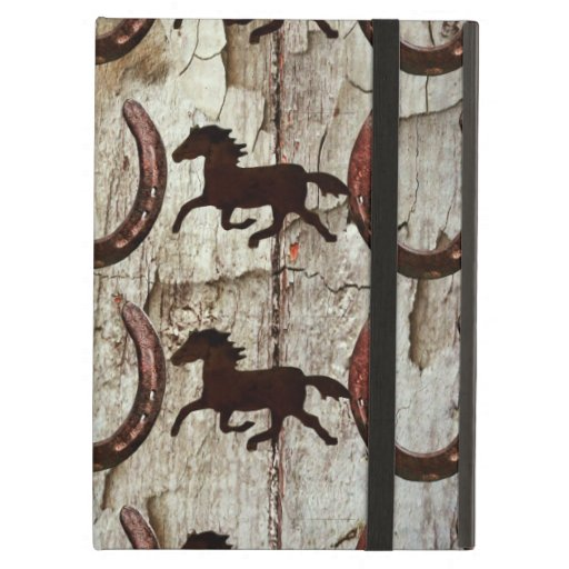 Horses and Horseshoes on Barn Wood Cowboy Gifts iPad Covers