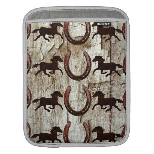Horses and Horseshoes on Barn Wood Cowboy Gifts Sleeve For iPads