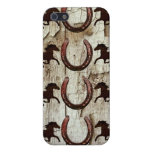 Horses and Horseshoes on Barn Wood Cowboy Gifts iPhone 5 Cases