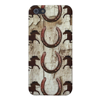 Horses and Horseshoes on Barn Wood Cowboy Gifts iPhone 5 Cover
