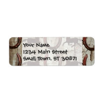 Horses and Horseshoes on Barn Wood Cowboy Gifts Label