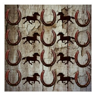 Horses and Horseshoes on Barn Wood Cowboy Gifts Poster