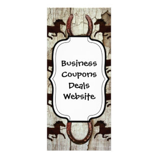 Horses and Horseshoes on Barn Wood Cowboy Gifts Rack Card