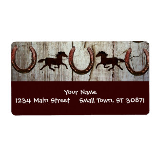 Horses and Horseshoes on Barn Wood Cowboy Gifts Shipping Label