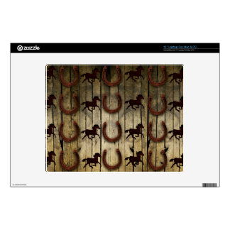 """Horses and Horseshoes on Wood  backround Gifts 12"""" Laptop Decal"""