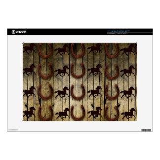 """Horses and Horseshoes on Wood  backround Gifts 15"""" Laptop Skins"""