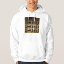 Horses and Horseshoes on Wood  backround Gifts Hoodie