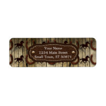 Horses and Horseshoes on Wood  backround Gifts Label