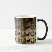 Horses and Horseshoes on Wood  backround Gifts Magic Mug