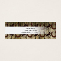 Horses and Horseshoes on Wood  backround Gifts Mini Business Card