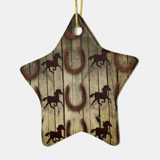Horses and Horseshoes on Wood  backround Gifts Double-Sided Star Ceramic Christmas Ornament