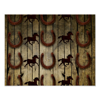 Horses and Horseshoes on Wood  backround Gifts Poster