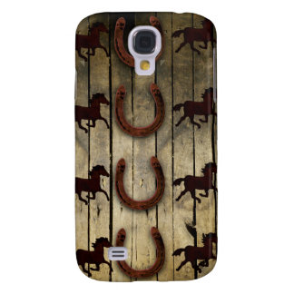 Horses and Horseshoes on Wood  backround Gifts Samsung S4 Case