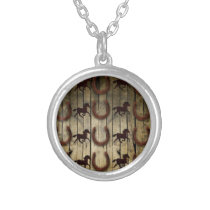 Horses and Horseshoes on Wood  backround Gifts Silver Plated Necklace