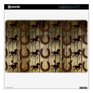 Horses and Horseshoes on Wood  backround Gifts Skin For The MacBook