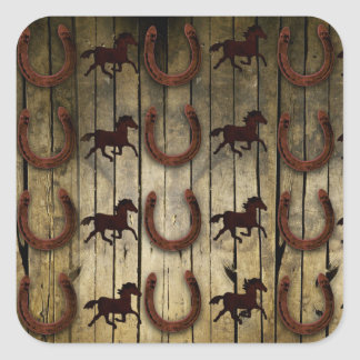 Horses and Horseshoes on Wood  backround Gifts Square Sticker