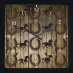 "Horses and Horseshoes on Wood  backround Gifts Square Wall Clock<br><div class=""desc"">Horses and Horseshoes on Wood  backround Gifts                                 &quot;horses&quot;  &quot;horse&quot;  &quot;horseshoe&quot;  &quot;horse shoe&quot;  &quot;country western&quot;  &quot;gifts for horse lovers&quot;  &quot;cowboy gifts&quot;  &quot;barn wood&quot;  &quot;rustic&quot;  &quot;wood grain&quot;  &quot;country&quot;  &quot;wrought iron horses&quot;</div>"