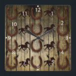 """Horses and Horseshoes on Wood  backround Gifts Square Wall Clock<br><div class=""""desc"""">Horses and Horseshoes on Wood  backround Gifts                                 &quot;horses&quot;  &quot;horse&quot;  &quot;horseshoe&quot;  &quot;horse shoe&quot;  &quot;country western&quot;  &quot;gifts for horse lovers&quot;  &quot;cowboy gifts&quot;  &quot;barn wood&quot;  &quot;rustic&quot;  &quot;wood grain&quot;  &quot;country&quot;  &quot;wrought iron horses&quot;</div>"""