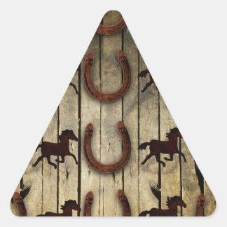 Horses and Horseshoes on Wood  backround Gifts Triangle Sticker
