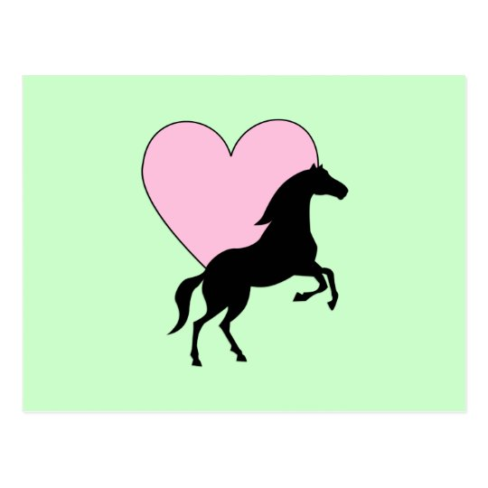 Horses and Love Postcard