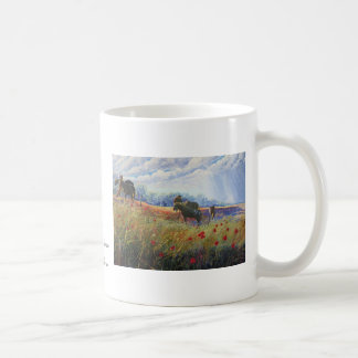 horses and poppies, Horses on the levee by Sylvi.. Coffee Mug