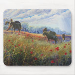 horses and poppies mouse pad