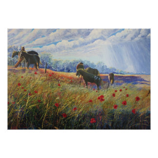 Horses and Poppys Poster