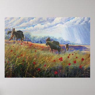Horses and Poppys Print