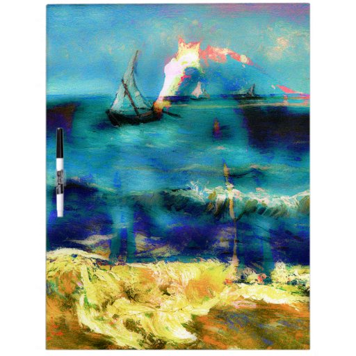 Horses and Sea - Bierstadt and Van Gogh Dry Erase White Board