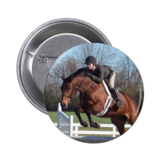 Horses and Show Jumping Round Button