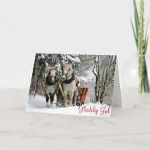 Horses and Sleigh in Winter Danish Christmas Holiday Card
